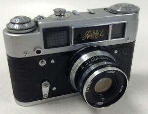Vintage Russian FED4 Rangefinder Film Camera With Original Case Working #210