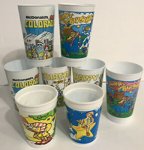 McDonalds Vintage Plastic Cups Set of 8