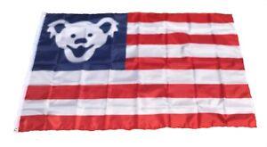 Grateful Dead Dancing Bear Jerry Bear USA FLAG  3x5 ft Concert Banner Flag