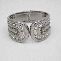 Premier designs jewelry polished silver tone cut crystal cuff bangle bracelet