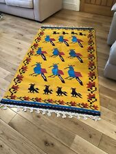 Authentic  Handwoven Indian Cotton Rug Wall / Floor Large