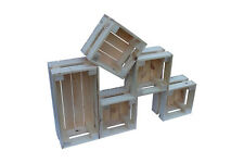 Small wooden crates handmade set of 5 Natural finish