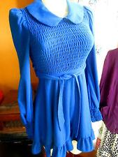 sz 4 True Vtg 60's HOVLAND SWANSON COBALT BLUE STRETCH MOD GIRL BELTED Dress
