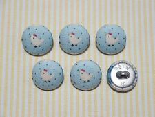 6 Country Rooster (Chicken) Fabric Covered Buttons - 20mm