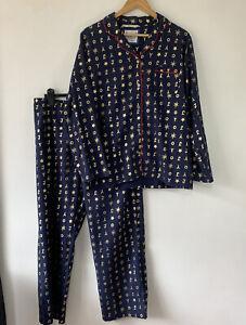 Tu Women's Navy & Gold Brushed Soft Cotton Christmas Joy Pyjamas Size 16 Xmas