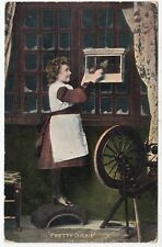 PRETTY DICKIE Little Girl & Bird In Cage - National Series - 1907 used postcard