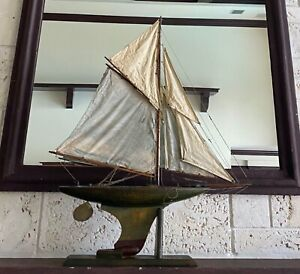 Antique Model Gaff Cutter Sailboat Pond Yacht Wooden Hull w/ Canvas Sails