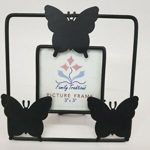 """Butterfly Wrought Iron Photo Frame Family Traditions for 3"""" x3"""" Photo tabletop"""