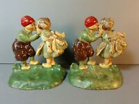 Hubley Bookends 332 Colorful Kissing Couple Cast Iron Antique Set of 2