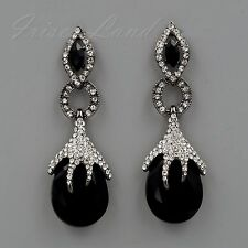Alloy Black Jet Crystal Rhinestone Chandelier Drop Dangle Earrings 00469 New