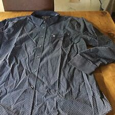 Bnwt Duck & Cover Small Blu Navy Patterned Camicia con normale colletto e polsini