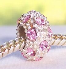 Pink Rhinestone October Birthstone Bead for Silver European Charm Bracelet