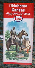 1964 Oklahoma Kansas road  map ENCO  oil gas oil route 66 Will Rogers cover