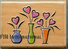 """3 Little Vases ~ ANM Wood Mount Rubber Stamp #100D Flowers, Hearts 1.5"""" x 1"""""""
