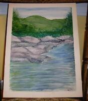 VINTAGE FOLK ART MINIMALIST GREEN MOUNTAINS TREES ROCKS WATER FOLK ART PAINTING