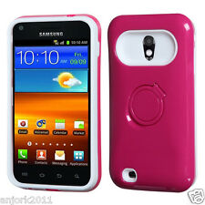 Sprint Samsung Galaxy S2 4G Hybrid Hard Case Skin Cover w/Stand Hot Pink White