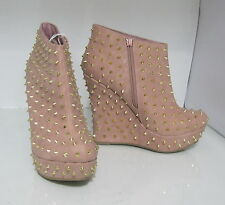 "Blush/Gold Spike 5.5"" Wedge Heel 1.5"" Platform Sexy Ankle Boot Size 5.5"