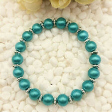 DIY Wholesale Fashion Jewelry 8mm Lake Blue Pearl Beads Stretch  Bracelet