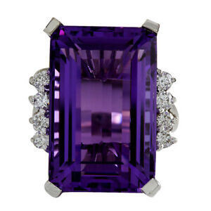 20.36cts Large Amethyst Emerald Cut 14k White Gold Finish Cocktail Part Ring
