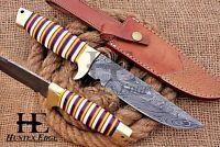 HUNTEX Custom Handmade Damascus Steel 30 cm Long Full Tang Hunting Boot Knife