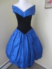 Vintage 80's 50's Royal Blue Taffeta & Black Velvet Party Dress Polka Dots S