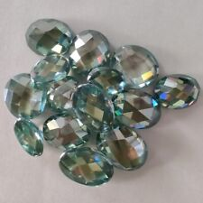 Oval Checkerboard Loose Moissanite For Ring 2.32 Ct 9.58x7.36 Mm Vvs1 Green Blue