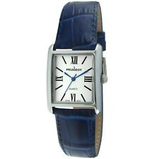 Women's Silver-Tone Watch with Blue Leather Band by Peugeot