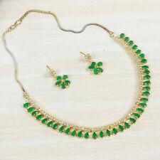 Latest Indian Bollywood Wedding Gold Polish AD CZ Wedding Trendy Necklace Set