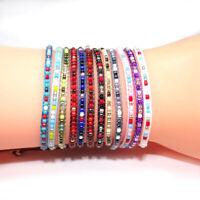 Women Bohemian Seed Beaded Wax Rope Handmade Braided Woven Friendship Bracelet