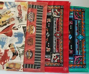 4 Vintage Southwest Native American Cowboy Bandana Aryale Rogers Wamcraft USA