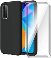 For Huawei P smart 2021 Case Slim Silicone Cover & Glass Screen Protector