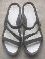 CROCS WOMEN SWIFTWATER GRAY SLIP ON SANDALS SIZE 7