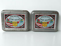 (Two) Vintage PACKER'S TAR SOAP Steel Tins USA Made in Mystic Connecticut 1939