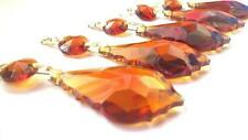 5 Chandelier Crystals Prisms Amber 50mm French Cut Pendant Weddings Feng Shui