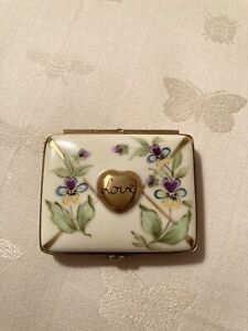 Rochard Limoges France Porcelain Keepsake Trinket Box - Love Letter Heart NEW