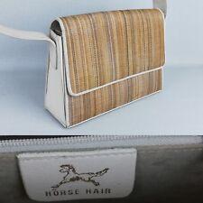 Horse Hair Beige Genuine  Leather Wicker effect Retro Vintage Shoulder Bag