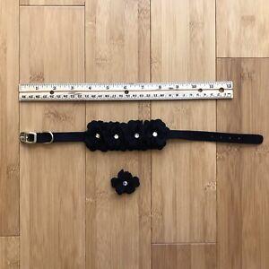 Susan Lanci Designs Tinkie's Garden Flower Collar Size Medium w/ Flower Barrette