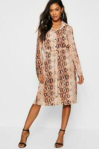BooHoo - Womens Snake Print Woven Belted Shirt Dress Brown. Size 6. NEW.