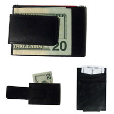Mens Deluxe Black Leather Magnetic Money Clip Wallet Credit Card Slim ID Holder
