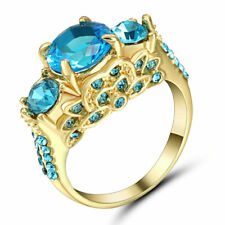 Vintage Round Blue sapphire Wedding Band Ring Women's Yellow Gold Filled Size 7