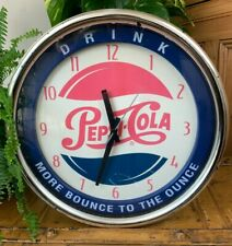 "RARE LARGE CIRCULAR PEPSI-COLA WALL CLOCK ""DRINK"" ""MORE BOUNCE TO THE OUNCE"" EXC"