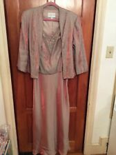 David's Bridal SZ 14W Shimmery Bronze Gown and 3/4 Sleeve Jacket w Beading MOB