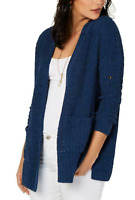 Style & Co Women's Large Cardigan Open Front Chenille Sweater Navy Blue NEW #42
