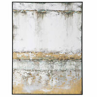 Textured Industrial White Black Gold Abstract Wall Art | Modern Large Painting