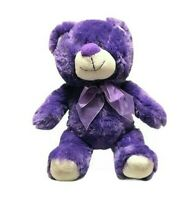 Another Korimco Friend Purple Teddy Bear Ribbon Bow Tie Soft Plush Toy 24cm Seat