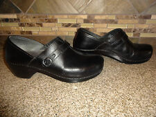 Womens Sz 41 US 10.5-11 Dansko Black Leather Slip-on Shoes Button Detail