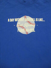 L blue BASEBALL t-shirt - A DAY WITHOUT - funny - fan appreciation