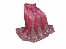 Om New Vintage Indian Wedding Net Hand Beaded Pink Lehenga Unstitched LP70