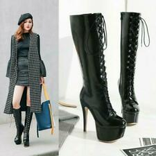 Sexy Womens Knee High Boots Platform High Heel Boots Shiny Shoes Big Size US4-16