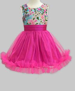 A.T.U.N. New Fuchsia Fresh Bloom Embroidered Victoria A-Line Girl Dress 7-8yrs